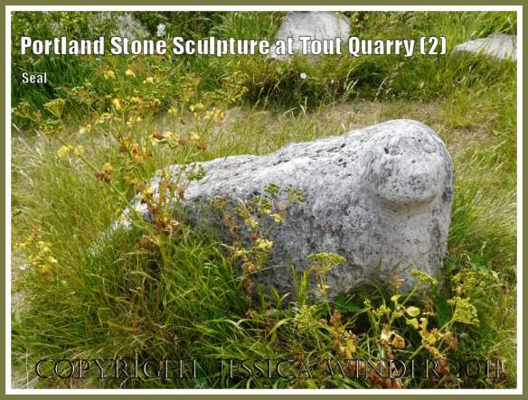 Portland stone seal: Portland Stone sculpture at Tout Quarry, Isle of Portland, Dorset, UK, on the Jurassic Coast - seal (2)