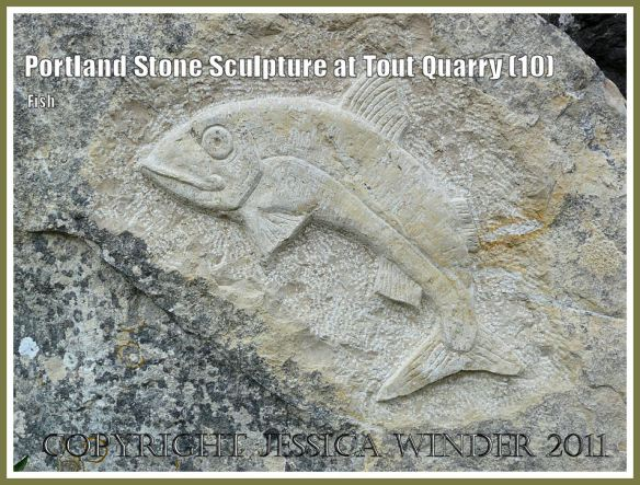 Fish carved in Portland Stone; Portland Stone sculpture at Tout Quarry, Isle of Portland, Dorset, UK, on the Jurassic Coast - fish relief (10)