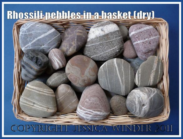 Pebbles with white lines from Rhossili: Assortment of mostly striped pebbles from Rhossili, Gower, South Wales, showing appearance when dry (1)