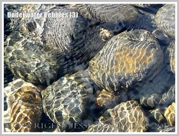 Underwater Pebbles (3) - Pebbles viewed through shallow river water with patterns of reflected sunlight from the water ripples, photographed on the beach in Neptune State Park, south of Yachats, Oregon, U.S.A.