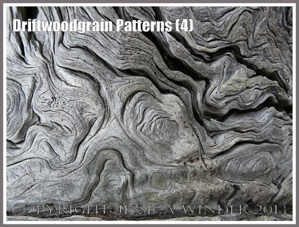 Driftwoodgrain Patterns (4) - Natural patterns of swirls and grooves in weathered driftwood washed up on an Oregon Coast beach.