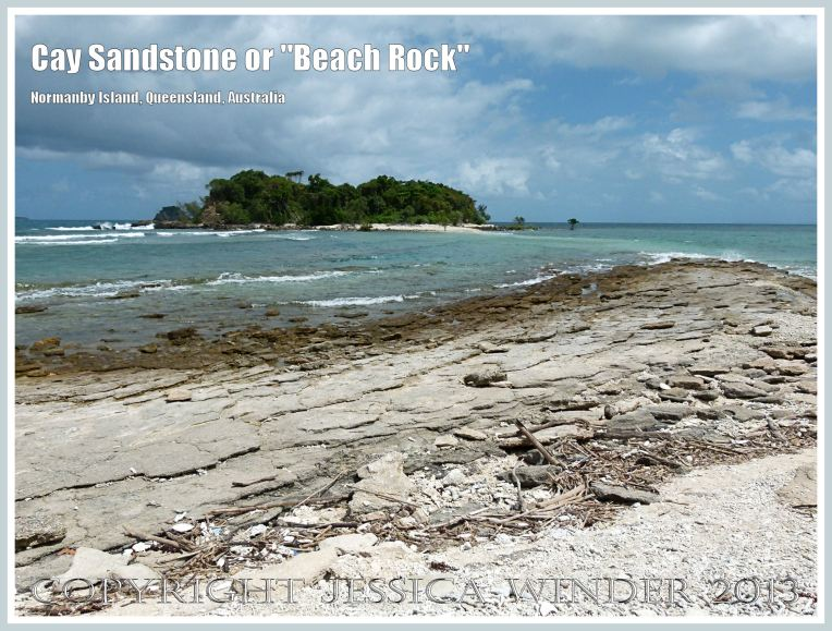 """Layers of """"Beach Rock"""" or Cay Sandstone recently formed by a natural cementation of coral and shell fragments in still shallow water at the edge of Normanby Island, one of the Frankland Islands, Queensland, Australia."""