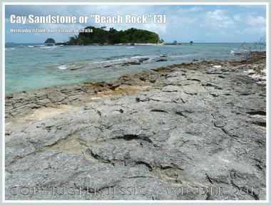 """Cay Sandstone or """"Beach Rock"""" (3) - Layers of """"Beach Rock"""" or Cay Sandstone recently formed by a natural cementation of coral and shell fragments in still shallow water at the edge of Normanby Island, one of the Frankland Islands, Queensland, Australia."""