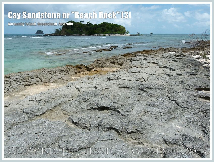 "Cay Sandstone or ""Beach Rock"" (3) - Layers of ""Beach Rock"" or Cay Sandstone recently formed by a natural cementation of coral and shell fragments in still shallow water at the edge of Normanby Island, one of the Frankland Islands, Queensland, Australia."