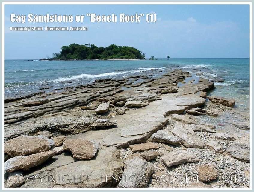"Cay Sandstone or ""Beach Rock"" (1) - Layers of ""Beach Rock"" or Cay Sandstone recently formed by a natural cementation of coral and shell fragments in still shallow water at the edge of Normanby Island, one of the Frankland Islands, Queensland, Australia."