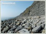Monmouth Beach - Cliff and beach boulders at Lyme Regis.