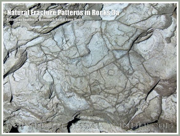 Natural Fracture Patterns in Rocks 3a - Close up photograph of natural patterns of cracks in a boulder on the shore at Monmouth Beach, Lyme Regis, Dorset, UK on the Jurassic Coast.