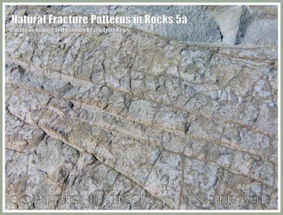 Natural Fracture Patterns in Rocks 5a - Close up photograph of natural patterns of cracks in a boulder on the shore at Monmouth Beach, Lyme Regis, Dorset, UK on the Jurassic Coast.