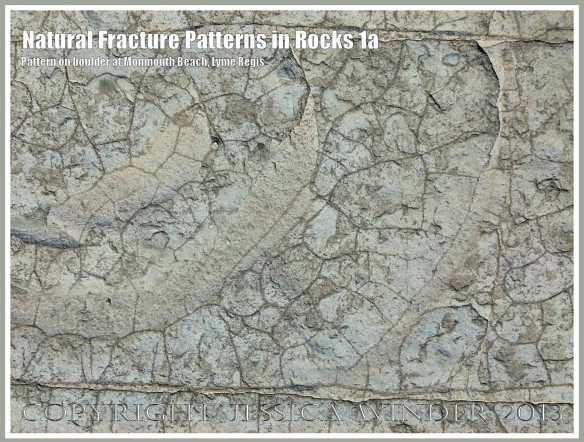 Natural Fracture Patterns in Rocks 1a - Close up photograph of natural patterns of cracks in a boulder on the shore at Monmouth Beach, Lyme Regis, Dorset, UK on the Jurassic Coast.