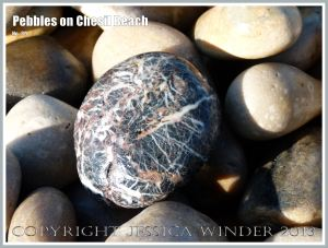 Dark grey glassy pebble with red and white lines