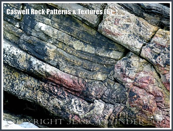 Caswell Rock Patterns & Textures  (6) - Natural patterns in variably bedded and faulted Carboniferous mudstone rock strata adjacent to the shore at Caswell Bay, Gower, South Wales.