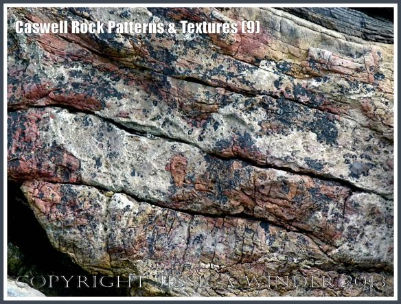 Natural coloured abstract patterns in rock strata - Caswell Bay Mudstones.