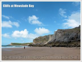 View of Mewslade with cliffs of Carboniferous High Tor Limestone with erosion features