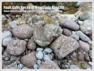 Mainly Old Red sandstone boulders from the fault breccia in a fault gully at Mewslade