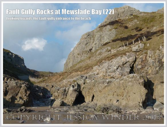 View of fault gully from Mewslade beach.