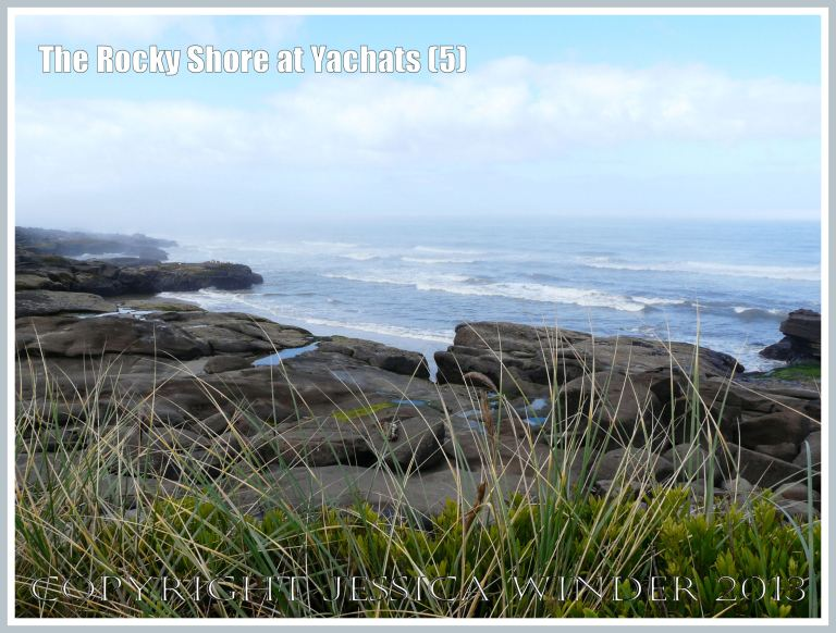 View of the rocky shore at Yachats looking south