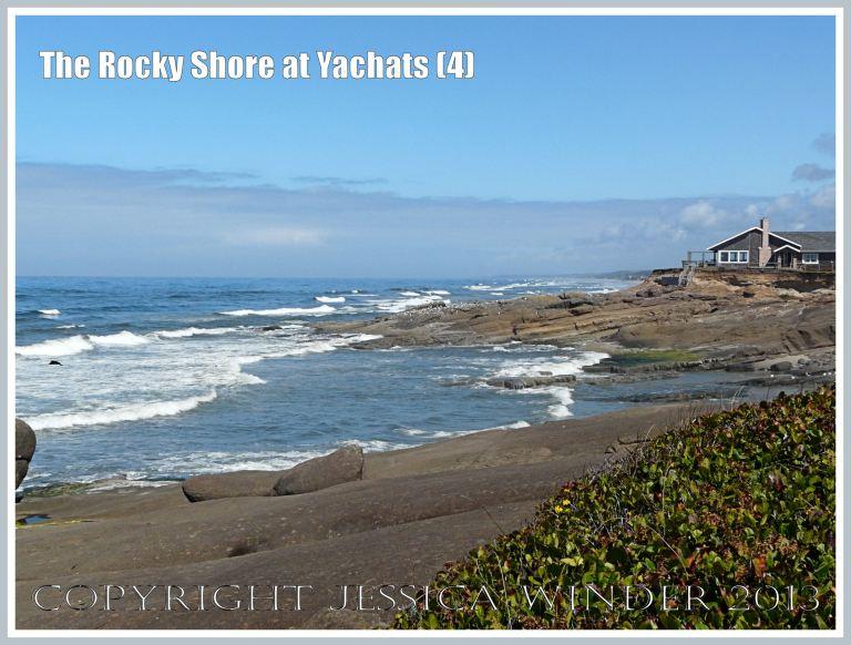 View looking north along the rocky shore at Yachats, Oregon.