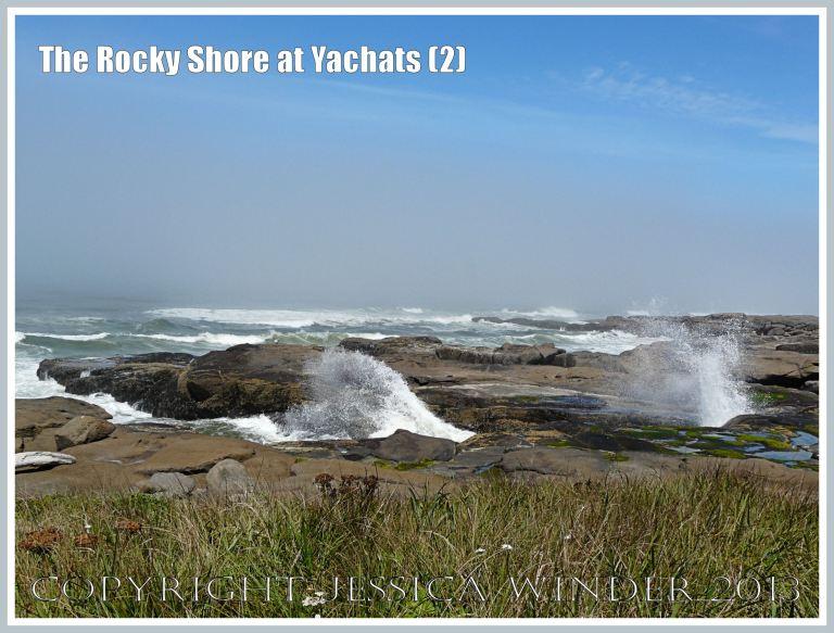 Waves crashing on the rocky shore on the Oregon Coast