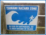 Tsunami Warning Sign at Yachats, Oregon Coast.