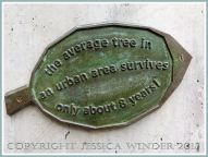 Leaf plaque with tree information from a bronze tree sculpture at Kew Gardens.