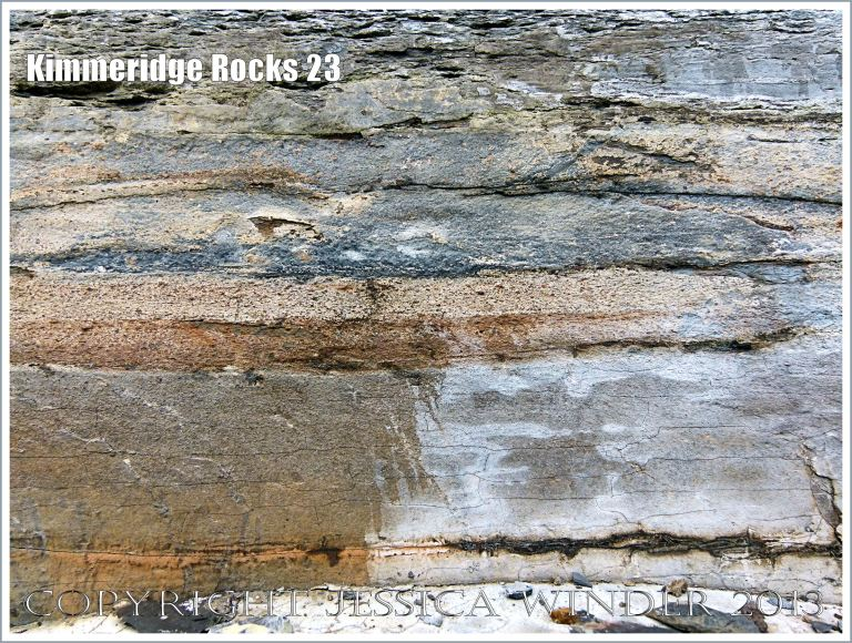 bands of shale and limestone in a cliff face