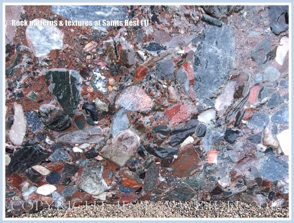 Natural patterns, colours and textures in rock at Saints Rest Beach, New Brunswick, Canada.
