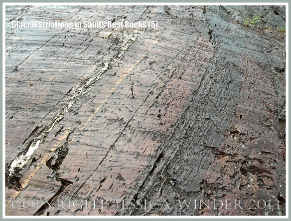Marks in rock caused by the passage of an overlying ice sheet or glacier 20,000 years ago