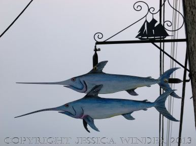 Public art in Lunenburg, Nova Scotia, showing fish
