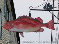 Sea food art (fish) in the streets of Lunenburg, Nova Scotia.