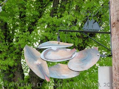 Sea food art (clams) in the streets of Lunenburg, Nova Scotia.