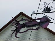 Seafood art (squid) in the streets of Lunenburg, Nova Scotia.
