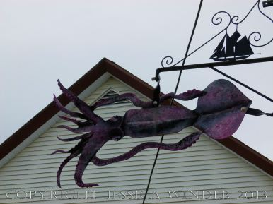 Seafood art (squid) in the streets of Lunenburg, Nova Scotia.