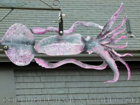Sea food art (squid) in the streets of Lunenburg, Nova Scotia.