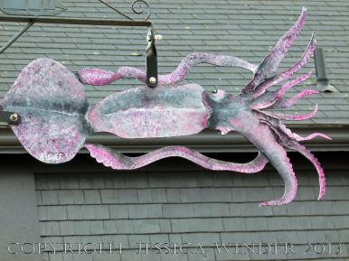 Sea food art (squid) in the streets of Lunenburg, Nova Scotia.