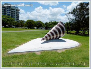 Giant sculpture of a mangrove mud whelk or mud creeper shell (Telescopium telescopium) by Dominic Johns