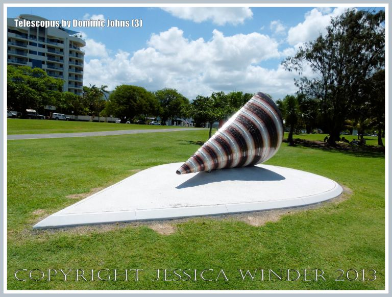 Giant sculpture of a mangrove mud whelk or mud creeper shell (Telescopium telescopium) by Dominic Johns