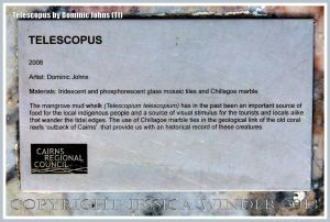 Sign on the Teloscopus sculpture by Dominic Johns.