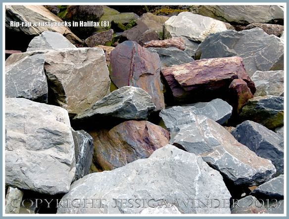 Protective rock rip-rap along the Halifax Harbour waterfront, Nova Scotia, Canada.