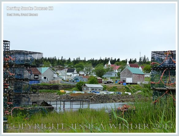 View of the fishing village of Seal Cove where there are old herring smoke houses, on the island of Grand Manan, New Brunswick, Canada.