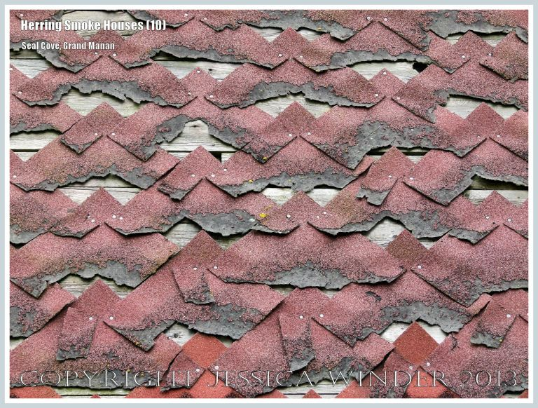 Close-up of tattered red weather-proofing tiles on an old herring smoke houses at Seal Cove, on the island of Grand Manan, New Brunswick, Canada.