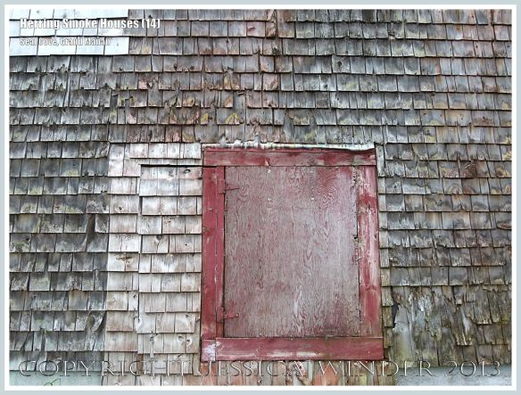 Detail of weathered wooden shingles on an old herring smoke house at Seal Cove, on the island of Grand Manan, New Brunswick, Canada.