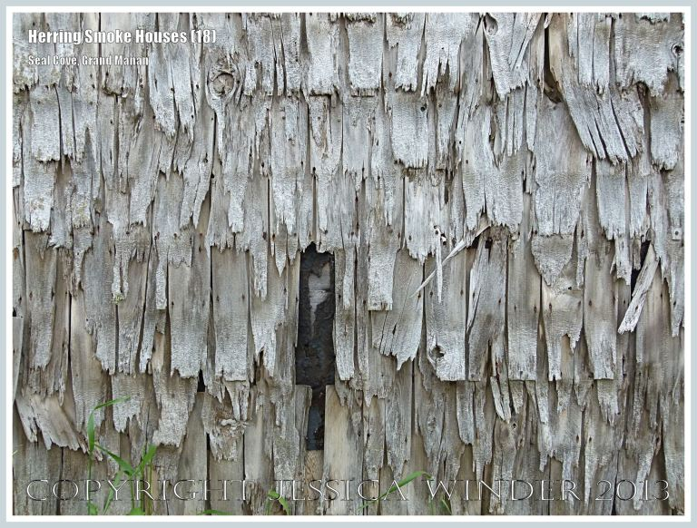 Detail of weathered wooden shingles on an old herring smoke houses at Seal Cove, on the island of Grand Manan, New Brunswick, Canada.