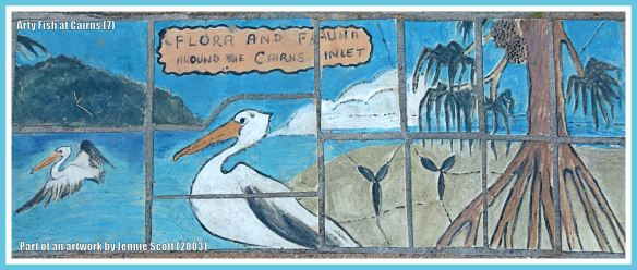 Cairns fish celebrated in ceramic art form on Cairns Esplanade pavement - the Title piece of the pavement mosaic