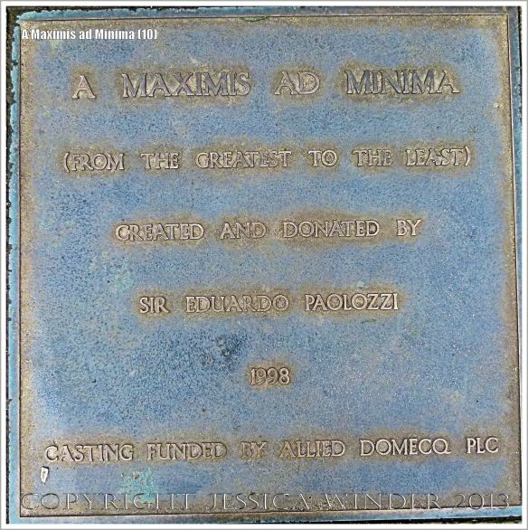 "Plaque on the sculpture entitled ""A Maximis Ad Minima"" by Sir Eduardo Paolozzi (1998)"
