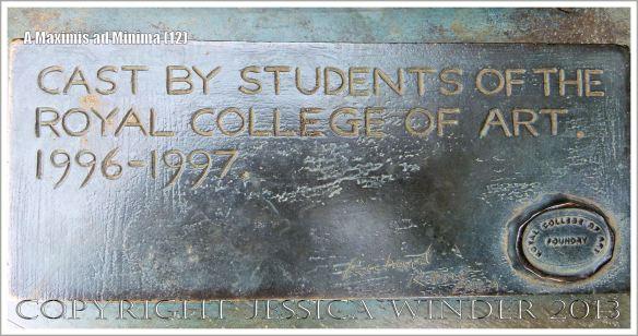 "Plaque on the sculpture entitled ""A Maximis Ad Minima"" by Sir Eduardo Paolozzi (1998)"