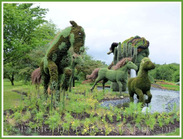 "Mosaiculture sculpture horses made with living plants as part of ""Mother Earth"" tableau."