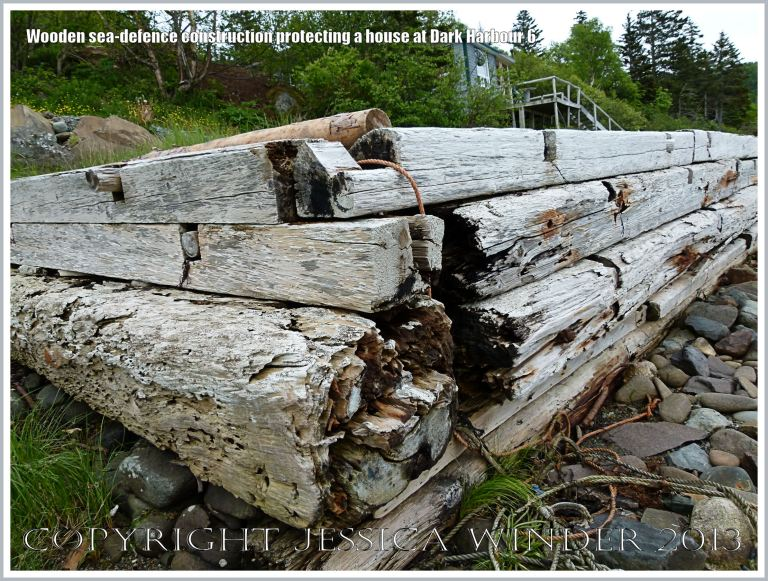 Sea defence structure built with driftwood timbers