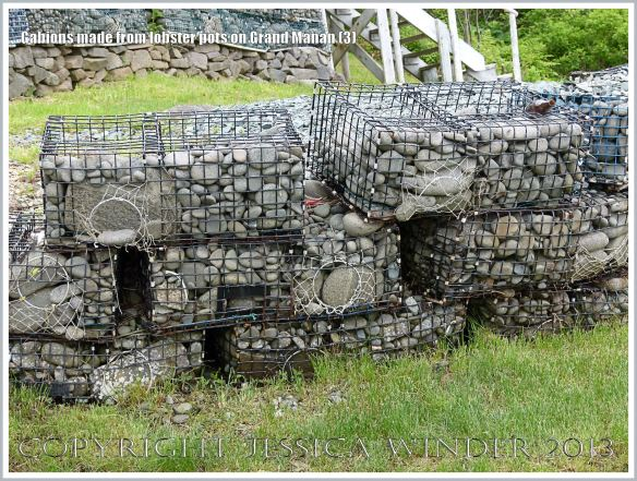 Sea defence gabions made with pebble-filled old lobster pots