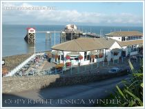 View of Mumbles Pier from above, near Swansea, South Wales.