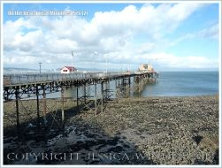 View of the pier under renovation at Mumbles